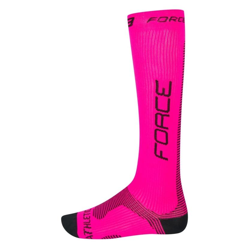 FORCE - ponožky  ATHLETIC PRO KOMPRES, růž.-černé