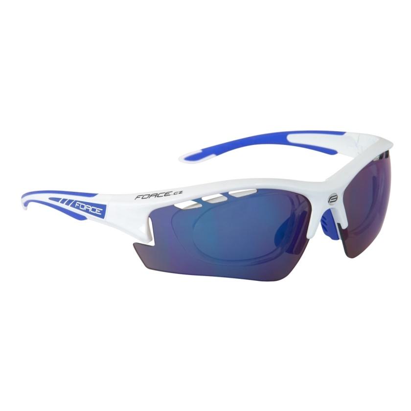 FORCE - brýle F RIDE PRO bílé diop.klip,modrá laser skla