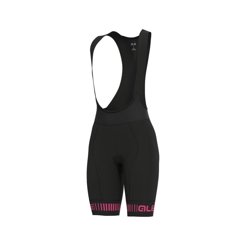 ALÉ - cyklistické kalhoty GRAPHICS PRR STRADA black-fluo pink