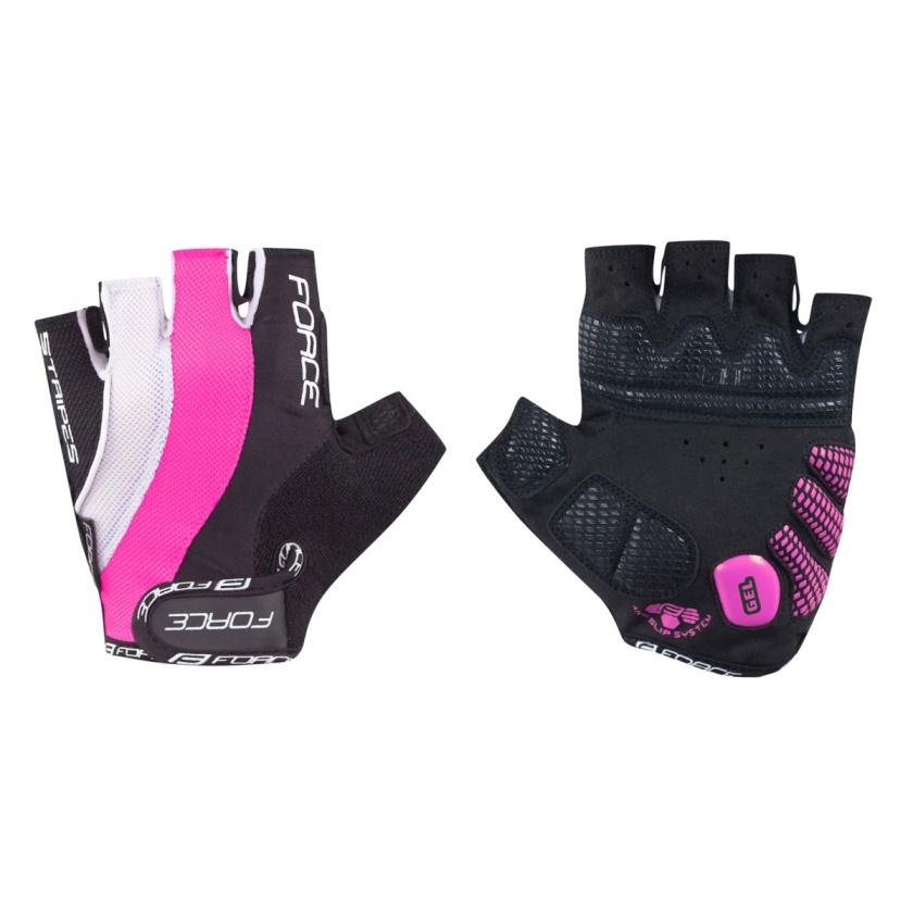 FORCE - rukavice  STRIPES gel dámské, růžové