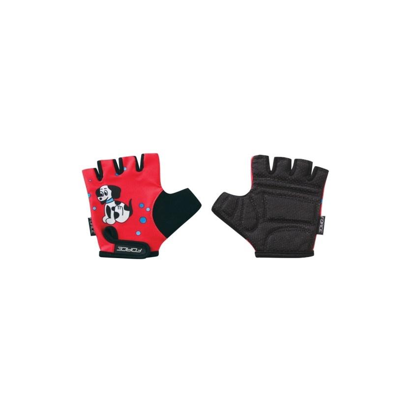FORCE - rukavice  KID dětské, červené-pejsek