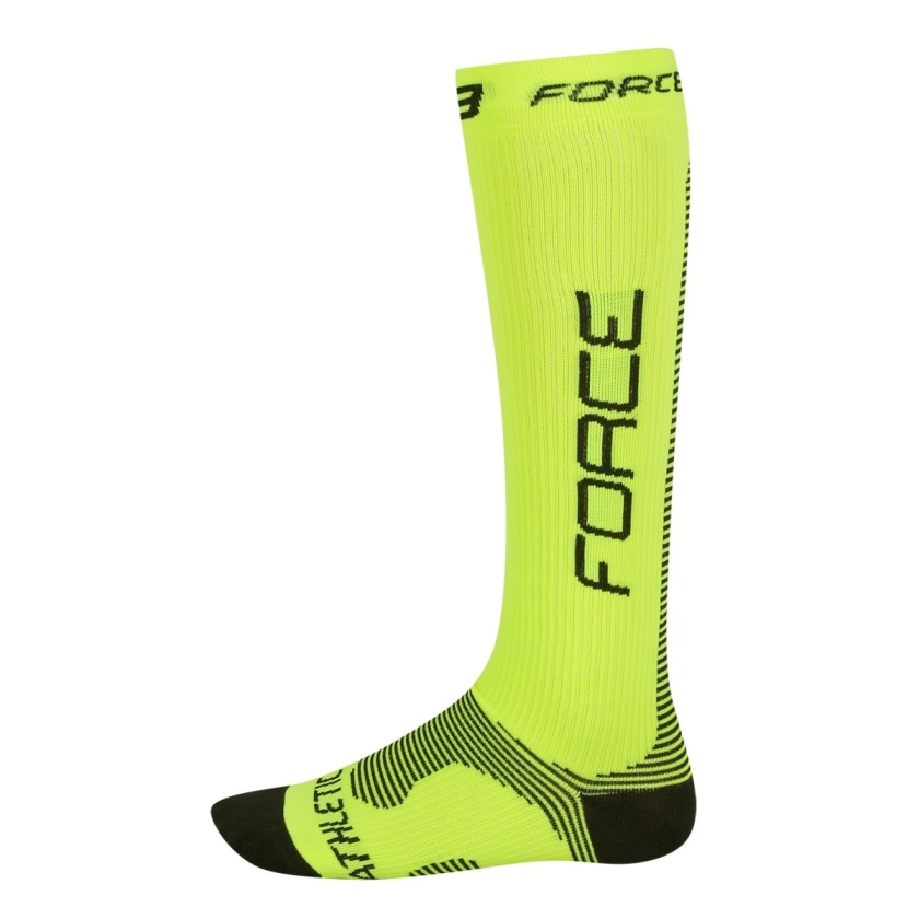 FORCE - ponožky  ATHLETIC PRO KOMPRES, fluo-černé