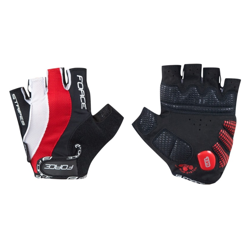 FORCE - rukavice  STRIPES gel, červené