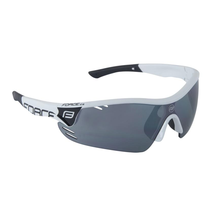 FORCE - brýle  RACE PRO bílé, černá laser skla