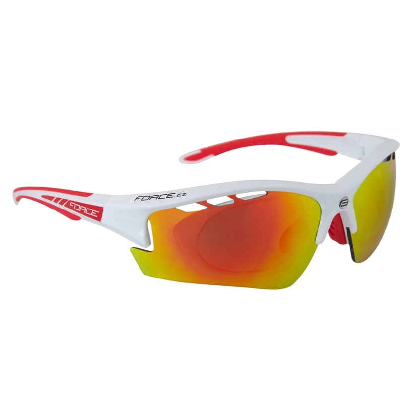 FORCE - brýle F RIDE PRO bílé diop.klip,červená laser skla