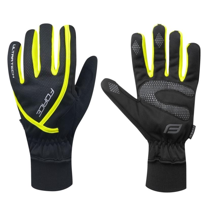 FORCE - rukavice zimní  ULTRA TECH, fluo
