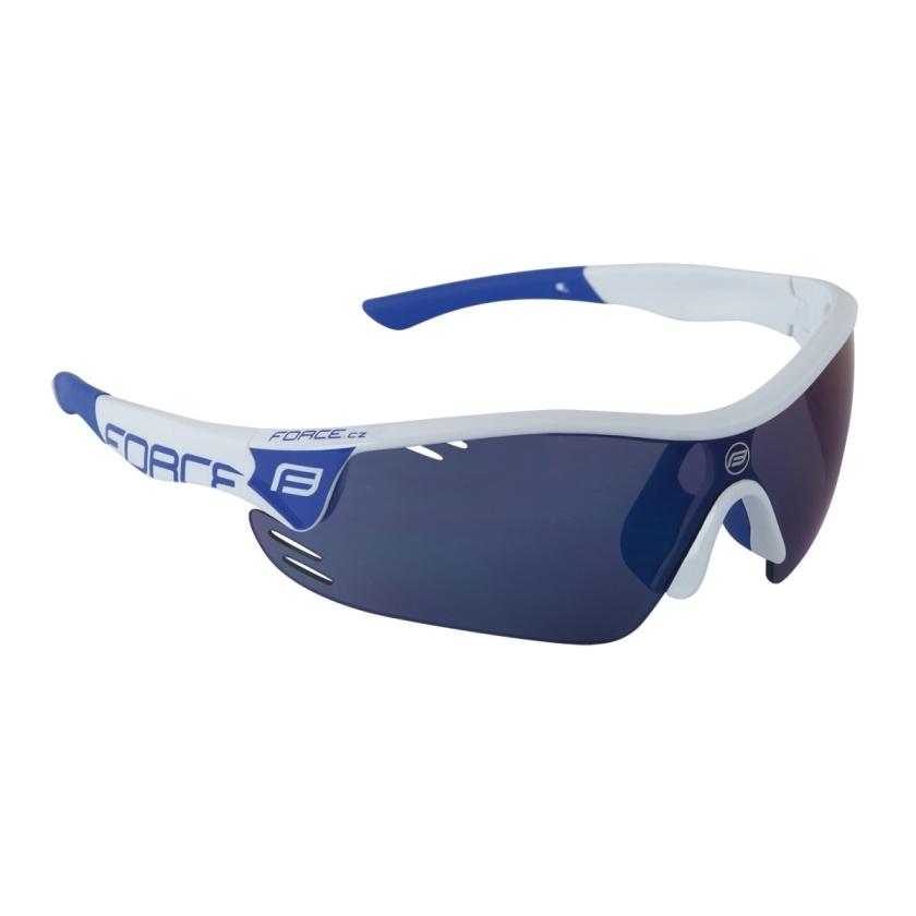 FORCE - brýle  RACE PRO bílé, modrá laser skla