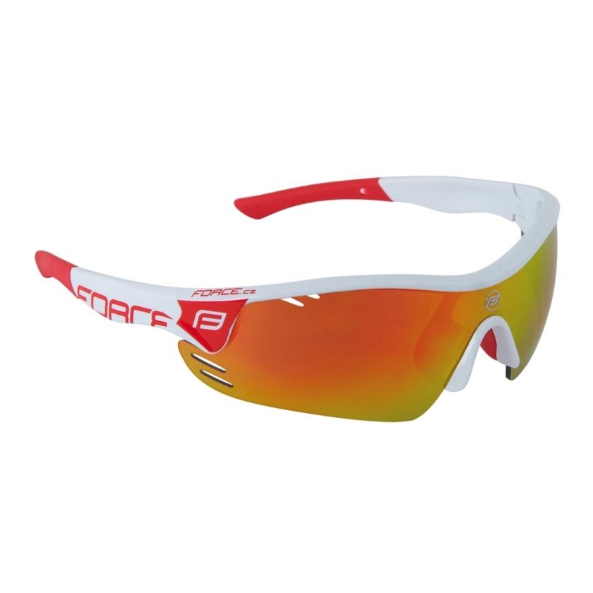 FORCE - brýle  RACE PRO bílé, červená skla