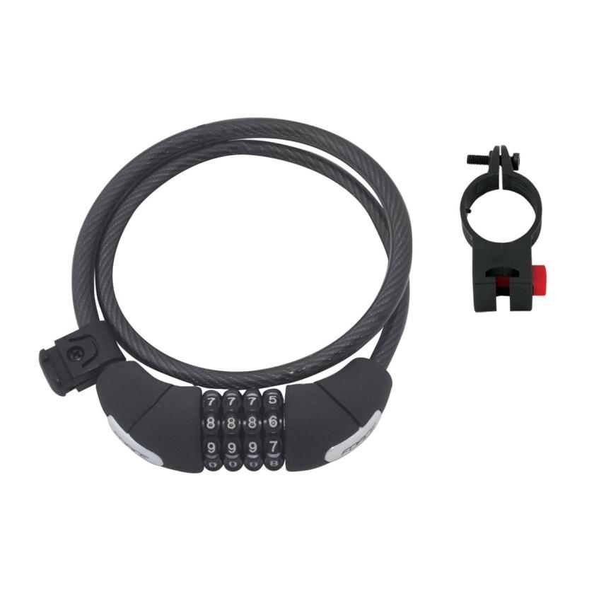 FORCE - zámek F LUX spirálový kódový 85cm/10mm+držák, črn.