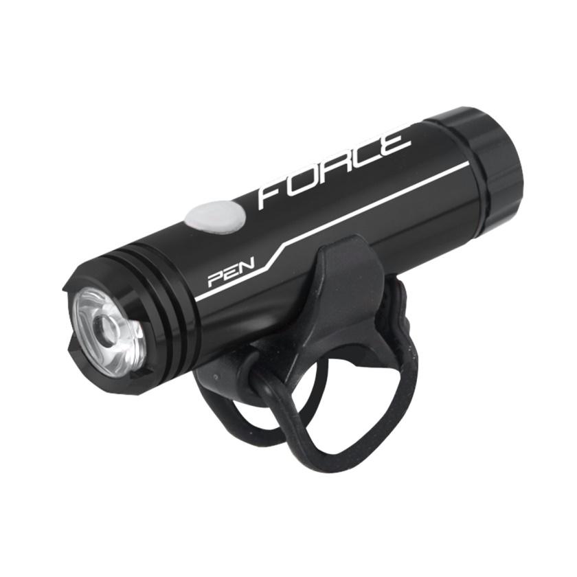 FORCE - světlo přední  PEN 200LM 1LED dioda USB,černé
