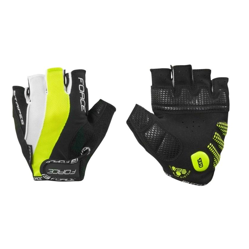 FORCE - rukavice  STRIPES gel, černo-fluo